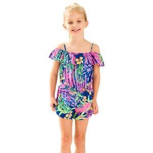 Lilly Pulitzer Girls Emoni Romper Ruffle Size XL